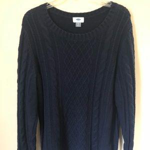 Navy blue crochet sweater
